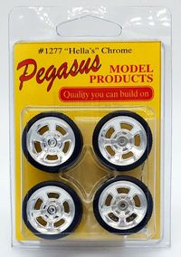 """Pegasus 1/24 or 1/25 Scale """"Hella's"""" Chrome Wheels with Knockoffs and Low Profile Tires Set"""
