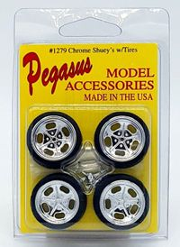 """Pegasus 1/24 or 1/25 Scale """"Shuey's"""" Chrome Wheels with Knockoffs and Low Profile Tires Set"""