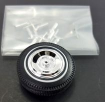 """Pegasus 1/24 or 1/25 Scale """"Crossbars"""" Chrome Wheelcover with White Stripe Tires Set"""