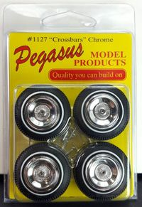 "Pegasus 1/24 or 1/25 Scale ""Crossbars"" Chrome Wheelcover with White Stripe Tires Set"