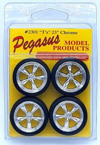 """Pegasus 1/24 or 1/25 Scale """"T's"""" (Torq Thrust II type) 23"""" Chrome Wheels with Low Profile Tires Set"""