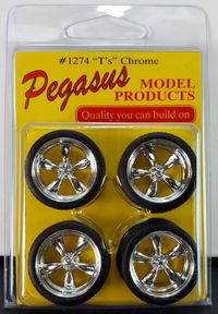 "Pegasus 1/24 or 1/25 Scale ""T's"" (Torq Thrust II) Chrome Wheels with Low Profile Tires Set"
