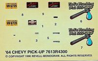 Revell 1964 Chevy Shortbed Fleetside Pickup Decals, 4 x 2.5 inches