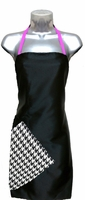 Hairstylist Apron Black-Houndstooth-pink