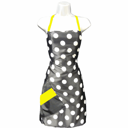 customized hair salon apron with yellow detail
