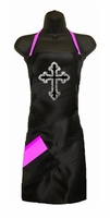 Stylist Apron with Rhinestone Cross  and Pink Detail