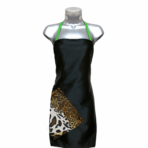 Hair Salon Apron Black-Cheetah-Apple