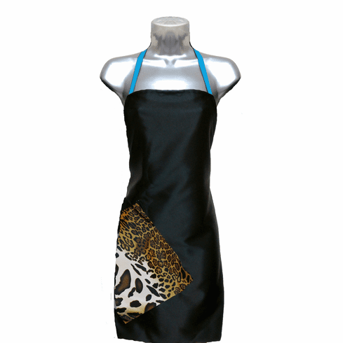 Hair Salon Apron Black-Cheetah-Blue-Topaz