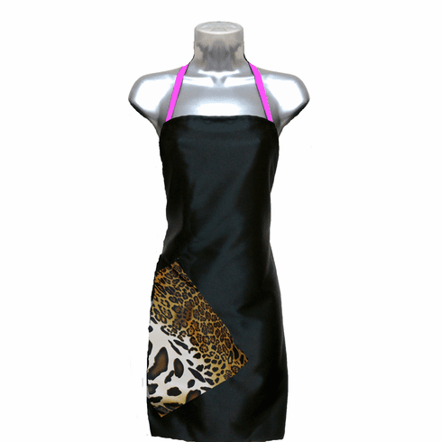 Hair Salon Apron Black-Cheetah-Pink