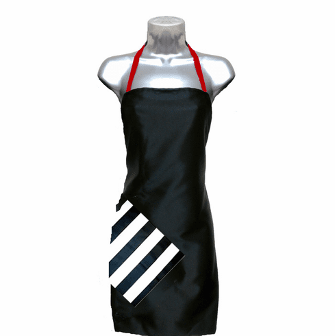 Hair Salon Apron Black-Stripe-Red