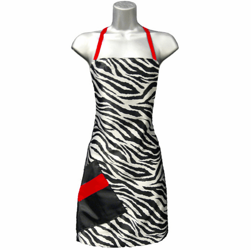 Hair Salon Apron Zebra Print Red