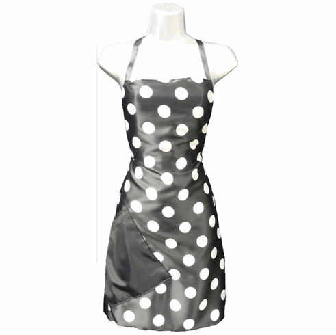 Hair Salon Stylist Apron Polka Dot Black White