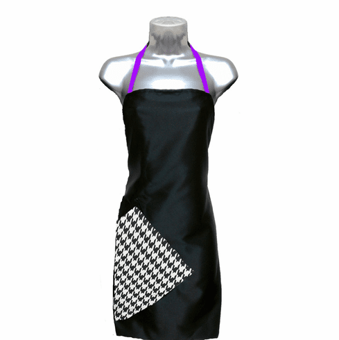 Hairstylist Apron Black-Houndstooth-Purple