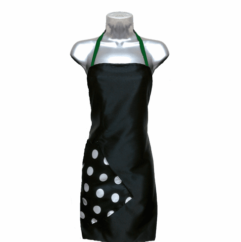 Salon Apron Black-Big Dot-Green