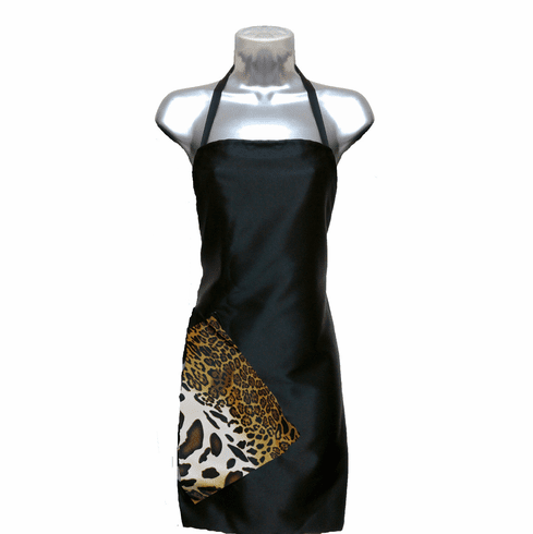 Salon apron Black-Leopard