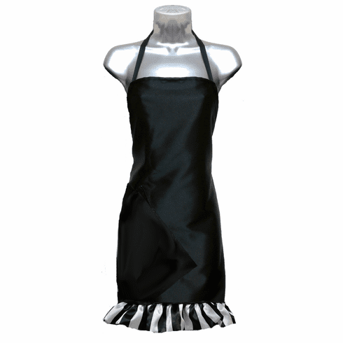 Salon apron Black with Stripe Ruffle