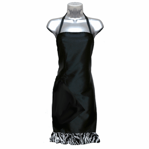 Salon Apron: Black with Zebra Ruffle