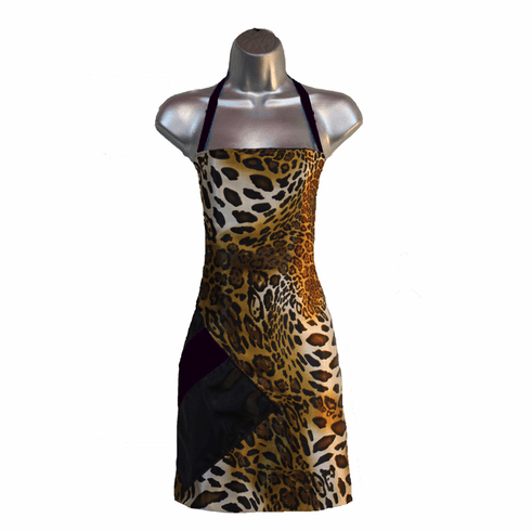 Salon Apron Cheetah Leopard-Black