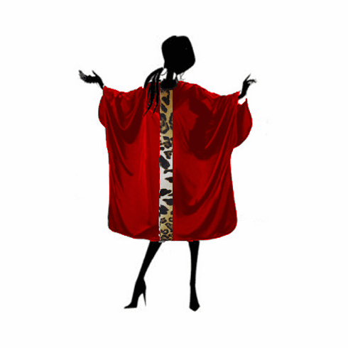 Salon Cape Red with Leopard Detail