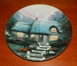 Thomas Kinkade Collector Plate Garden Cottages of England Candlelit Cottage