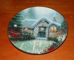 Thomas Kinkade Collector Plate Garden Cottages of England Woodsman's Thatch Cottage Out of Stock