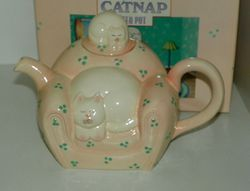 Clay Art Tea Pot Titled Catnap Darling Pink chair teapot with Two Cats