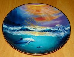 Collector Plate Dolphin Series Franklin Mint Heirloom Dawn of the Dolphin Out of Stock