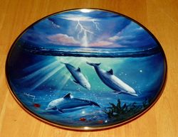 Collector Plate Dolphin Series Franklin Mint Heirloom Storm of the Dolphin Out of Stock