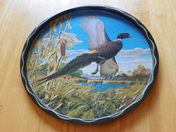 "Vintage Artist James L. Artic Pheasant Painting Round 11"" Serving Serving Tray"