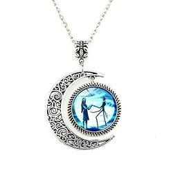 Moon Pendant Charm Crescent Necklace Jack and Sally Nightmare Before Christmas