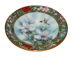Lena Liu Mini Collector Plate Series Hummingbird Treasury The Ruby Throated Hummingbird 1st issue in the series.  Bradford Editions 1994