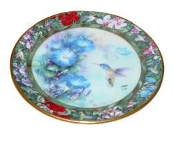 Lena Liu Mini Collector Plate Series Hummingbird Treasury The Violet Crowned Hummingbird 4th issue in the series.  Bradford Editions 1994 Out of Stock