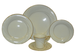 Noritake Dinner Plate Golden Tide #7739 Fine China 5 Piece Place Setting