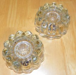 Pair Vintage Low Profile Candlestick Holders Clear Glass Good Weight
