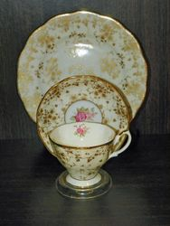 Royal Doulton Lovely Trio Plate, Parchment Cup Saucer With Pink Flowers Gold Leaves SOLD
