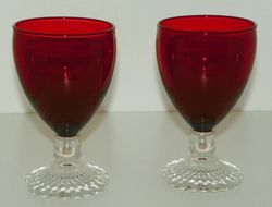 Set 2 Anchor Hocking Bubble Foot Ruby Bowl Clear Base Water Goblet SOLD