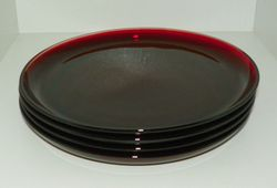 Set 4 Anchor Hocking Pattern R4000 Royal Ruby 9 inch Dinner Plates