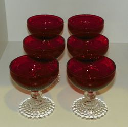 Set 6 Anchor Hocking Bubble Foot Ruby Bowl Clear Base Champagne/Tall Sherbet