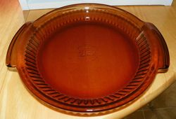 Vintage Anchor Hocking Amber 9 inch Glass Pie Plate with Handles Made in USA SOLD