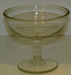 Vintage Clear Glass Compote or Tall Footed Candy Dish Beaded Design