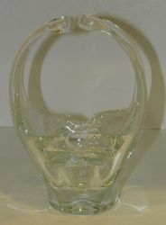 Vintage Hand Blown Glass Basket Almost 8 inches Unmarked