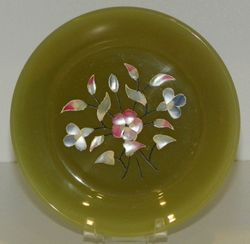 Vintage Heavy Painted Dish About 6 inches Green Unmarked