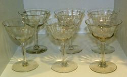 Vintage Set of Tall Sherbets or Champagne Glasses 4 oz 5 inches tall Unmarked