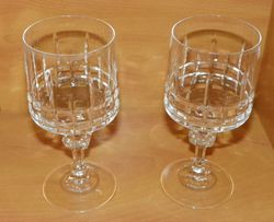 Pair of Crystal Wine Glasses 6 1/2 inches tall 8 oz size
