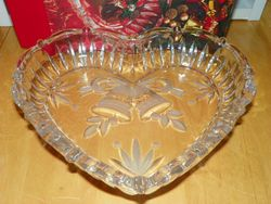 Clear Glass Heart Shaped Tray Dish Frosted Glass Design 9 inch Studio Nova Japan