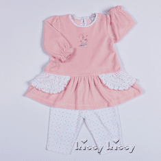 Kissy Kissy Baby-Girls Infant Jungle Menagerie VELOUR Stripe Pant-White With Pink-0-3 Months
