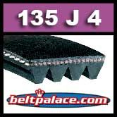 135J4 Poly-V Belt, Black Neoprene. Metric 4-PJ343 Drive Belt.