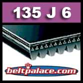 135J6 Black Neoprene Poly-V Belt, Metric 6-PJ343 Drive Belt.