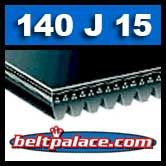 140J15 Poly-V Belt, Industrial Grade. Metric 15-PJ356 Motor Belt.