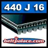 440J16 Poly-V Belt. Metric 16-PJ1118 Motor Belt.